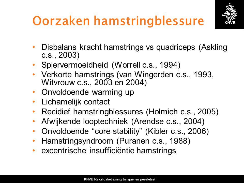 KNVB Revalidatietraining bij spier en peesletsel Oorzaken hamstringblessure Disbalans kracht hamstrings vs quadriceps (Askling c.s., 2003) Spiervermoeidheid (Worrell c.s., 1994) Verkorte hamstrings (van Wingerden c.s., 1993, Witvrouw c.s., 2003 en 2004) Onvoldoende warming up Lichamelijk contact Recidief hamstringblessures (Holmich c.s., 2005) Afwijkende looptechniek (Arendse c.s., 2004) Onvoldoende core stability (Kibler c.s., 2006) Hamstringsyndroom (Puranen c.s., 1988) excentrische insufficiëntie hamstrings