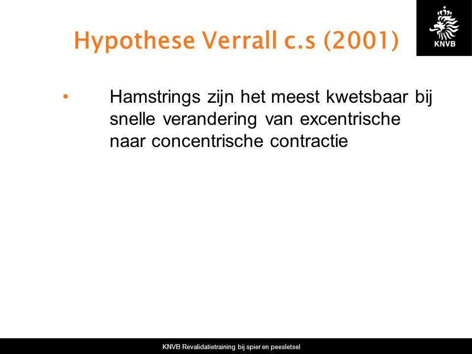 KNVB Revalidatietraining bij spier en peesletsel Hypothese Verrall c.s (2001) Hamstrings zijn het meest kwetsbaar bij snelle verandering van excentrische naar concentrische contractie