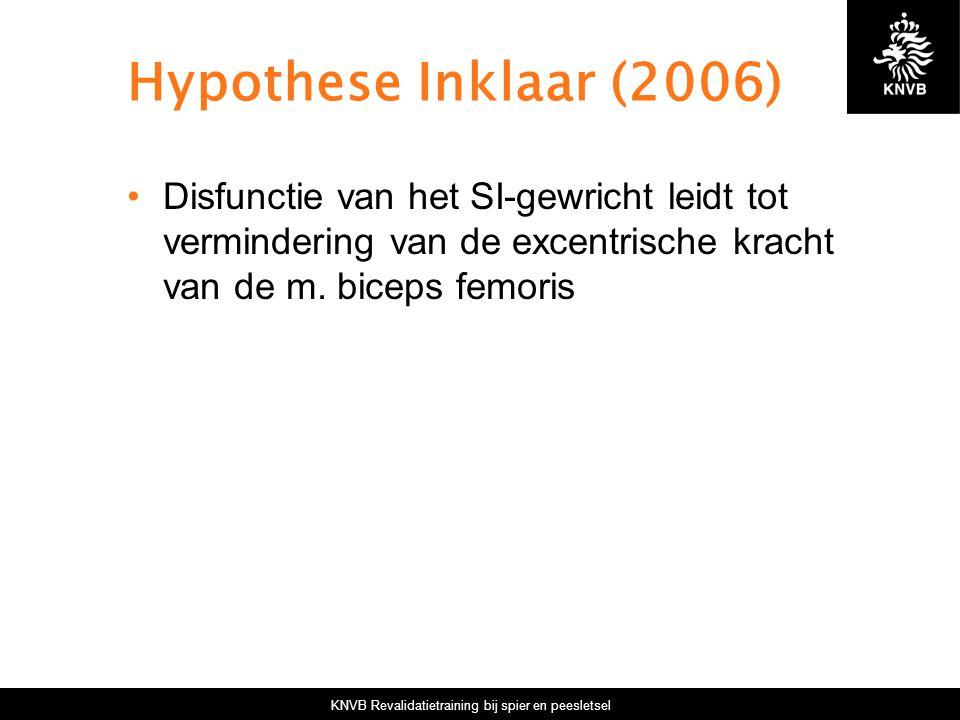 KNVB Revalidatietraining bij spier en peesletsel Hypothese Inklaar (2006) Disfunctie van het SI-gewricht leidt tot vermindering van de excentrische kr