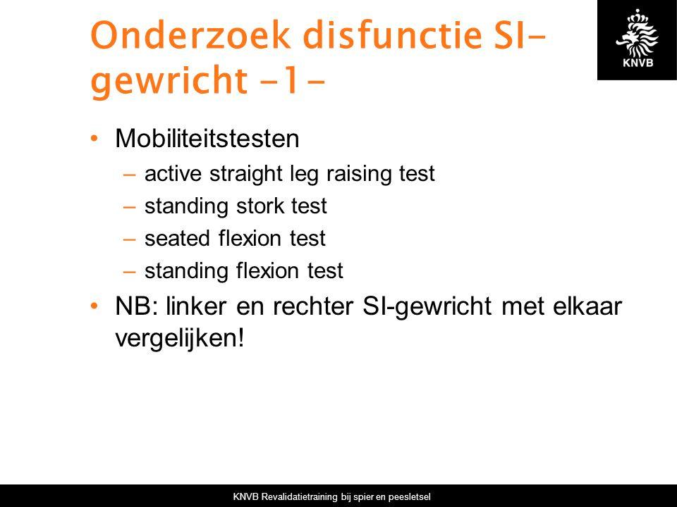 KNVB Revalidatietraining bij spier en peesletsel Onderzoek disfunctie SI- gewricht -1- Mobiliteitstesten –active straight leg raising test –standing s