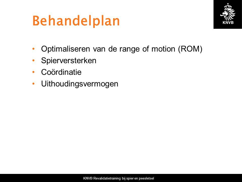 KNVB Revalidatietraining bij spier en peesletsel Behandelplan Optimaliseren van de range of motion (ROM) Spierversterken Coördinatie Uithoudingsvermogen