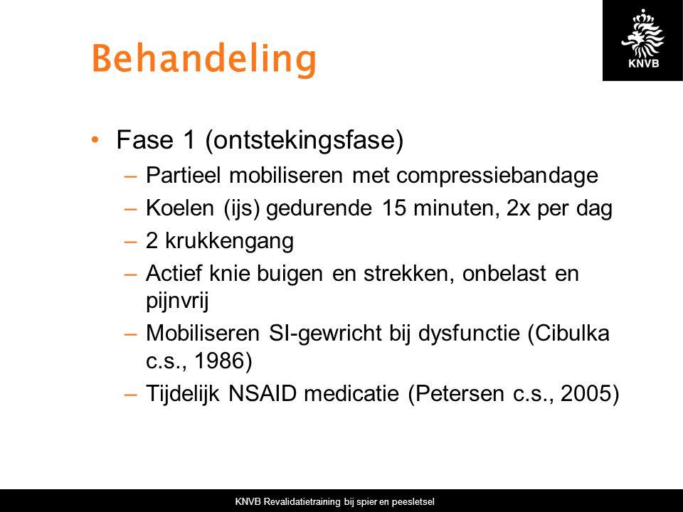 KNVB Revalidatietraining bij spier en peesletsel Behandeling Fase 1 (ontstekingsfase) –Partieel mobiliseren met compressiebandage –Koelen (ijs) gedure