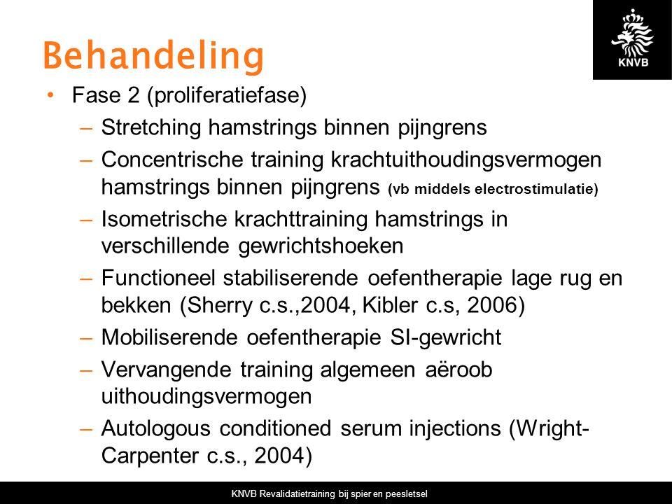 KNVB Revalidatietraining bij spier en peesletsel Behandeling Fase 2 (proliferatiefase) –Stretching hamstrings binnen pijngrens –Concentrische training krachtuithoudingsvermogen hamstrings binnen pijngrens (vb middels electrostimulatie) –Isometrische krachttraining hamstrings in verschillende gewrichtshoeken –Functioneel stabiliserende oefentherapie lage rug en bekken (Sherry c.s.,2004, Kibler c.s, 2006) –Mobiliserende oefentherapie SI-gewricht –Vervangende training algemeen aëroob uithoudingsvermogen –Autologous conditioned serum injections (Wright- Carpenter c.s., 2004)