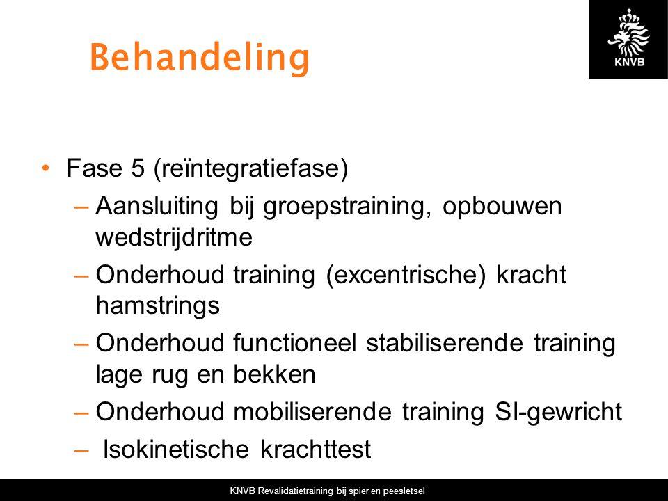 KNVB Revalidatietraining bij spier en peesletsel Behandeling Fase 5 (reïntegratiefase) –Aansluiting bij groepstraining, opbouwen wedstrijdritme –Onder