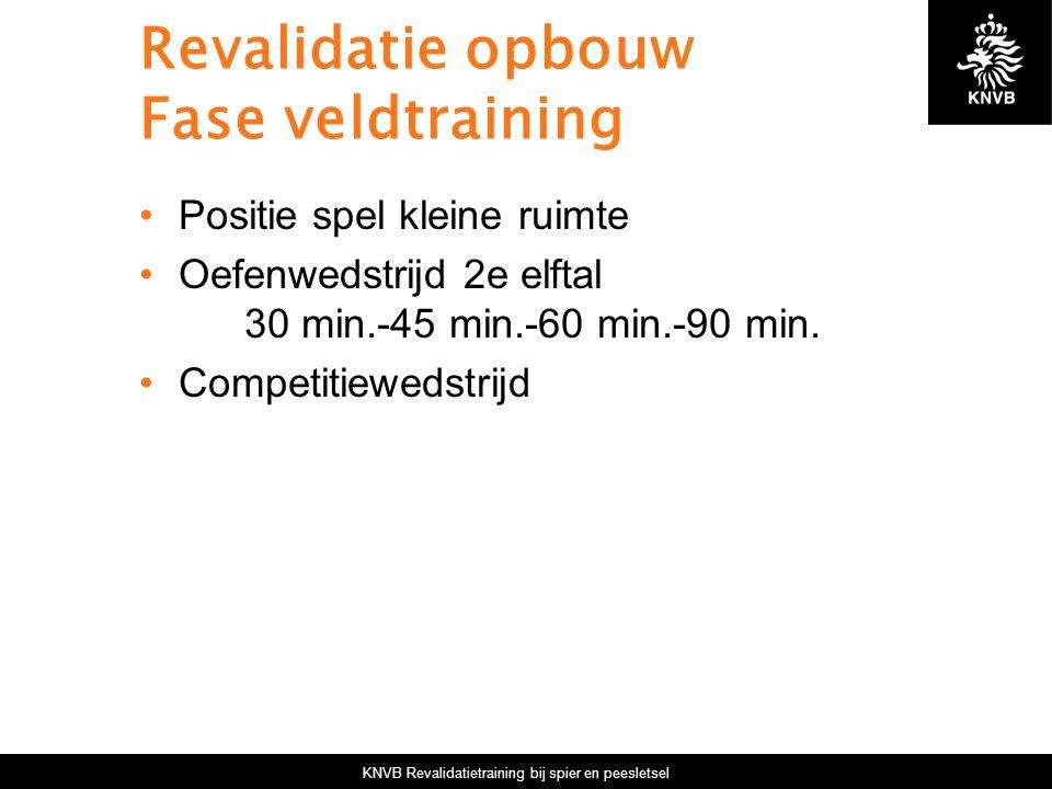 KNVB Revalidatietraining bij spier en peesletsel Revalidatie opbouw Fase veldtraining Positie spel kleine ruimte Oefenwedstrijd 2e elftal 30 min.-45 m