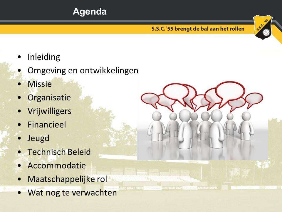 Agenda Inleiding Omgeving en ontwikkelingen Missie Organisatie Vrijwilligers Financieel Jeugd Technisch Beleid Accommodatie Maatschappelijke rol Wat n