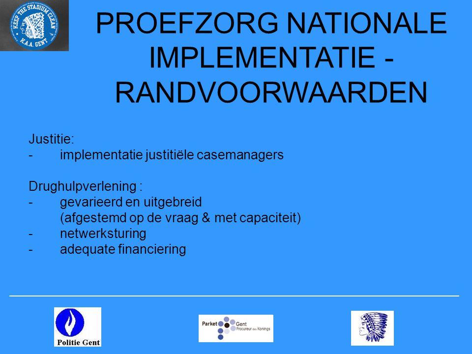 PROEFZORG NATIONALE IMPLEMENTATIE - RANDVOORWAARDEN Justitie: -implementatie justitiële casemanagers Drughulpverlening : -gevarieerd en uitgebreid (af