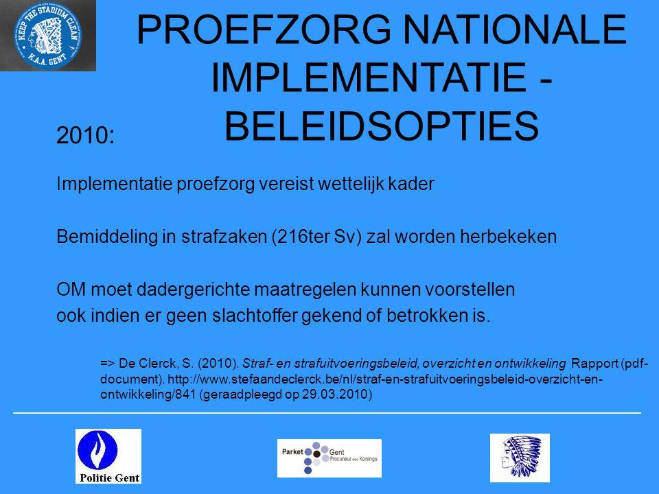 PROEFZORG NATIONALE IMPLEMENTATIE - BELEIDSOPTIES 2010 : Implementatie proefzorg vereist wettelijk kader Bemiddeling in strafzaken (216ter Sv) zal wor