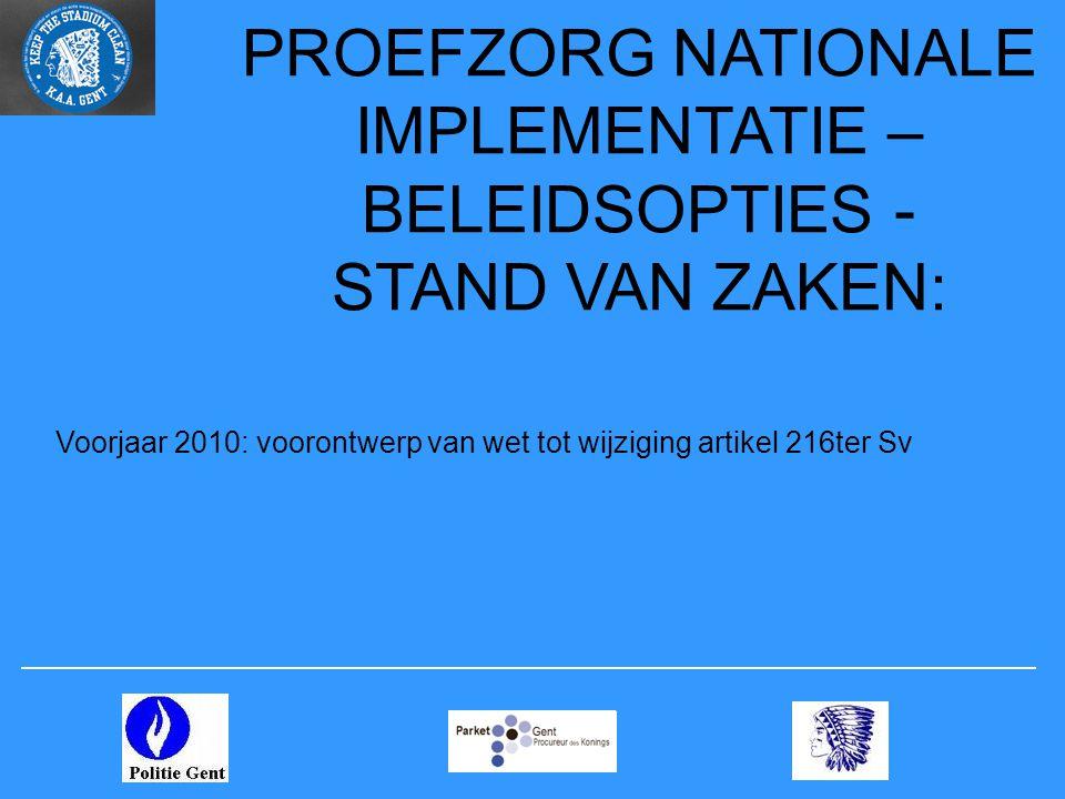 PROEFZORG NATIONALE IMPLEMENTATIE – BELEIDSOPTIES - STAND VAN ZAKEN: Voorjaar 2010: voorontwerp van wet tot wijziging artikel 216ter Sv