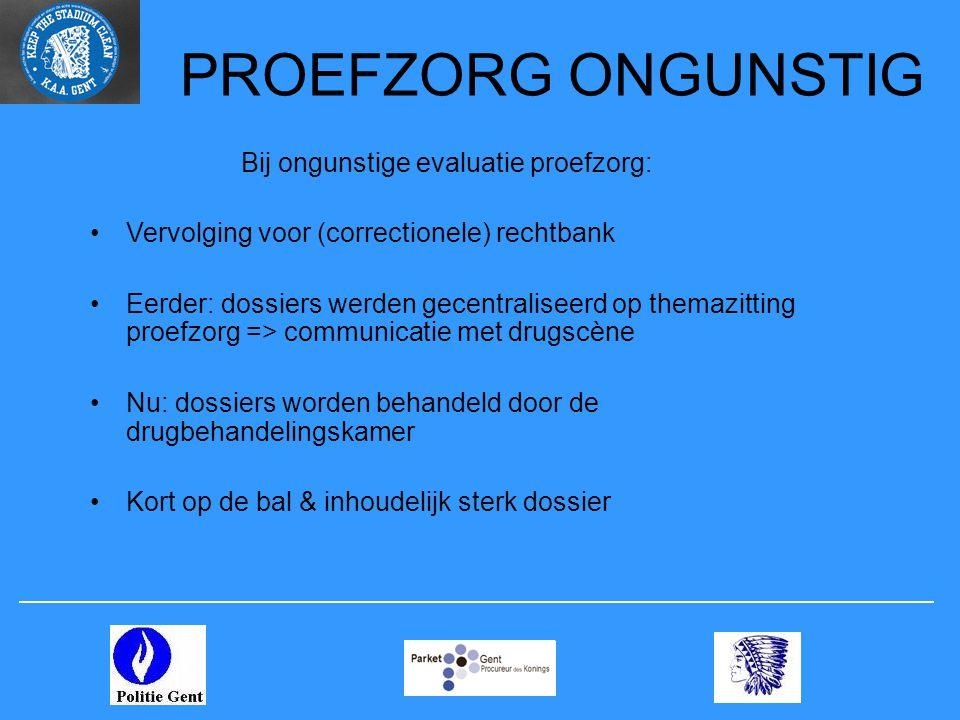 PROEFZORG ONGUNSTIG Bij ongunstige evaluatie proefzorg: Vervolging voor (correctionele) rechtbank Eerder: dossiers werden gecentraliseerd op themazitt