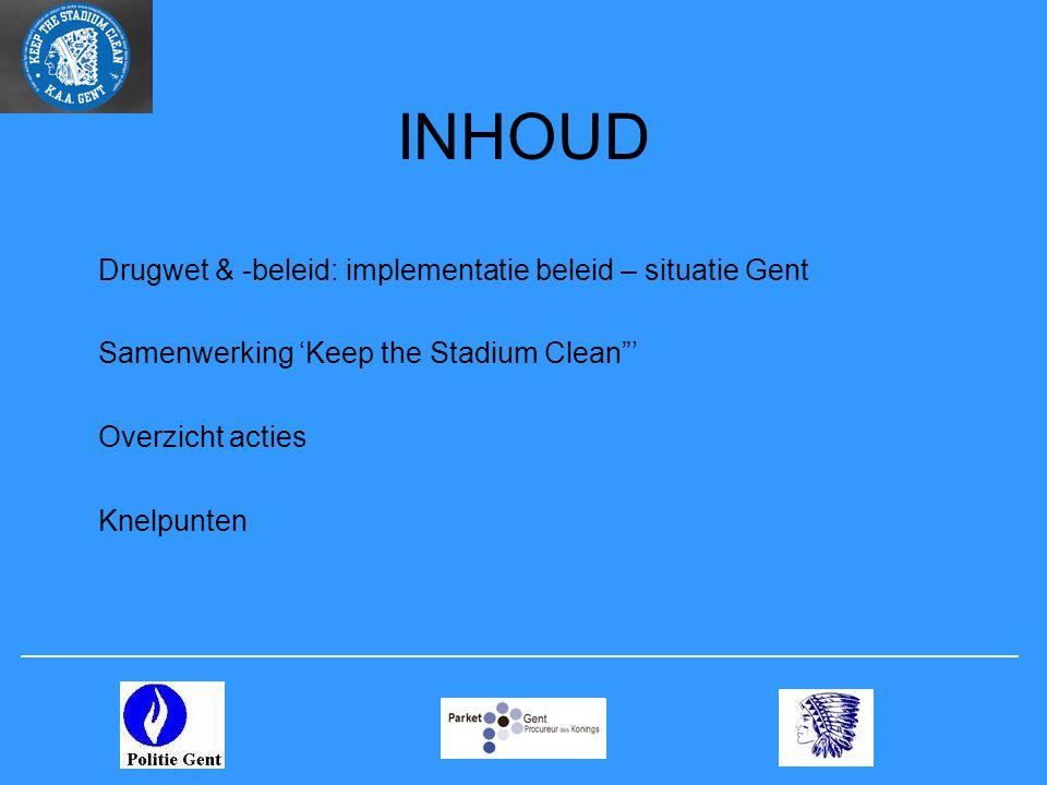 """Drugwet & -beleid: implementatie beleid – situatie Gent Samenwerking 'Keep the Stadium Clean""""' Overzicht acties Knelpunten INHOUD"""