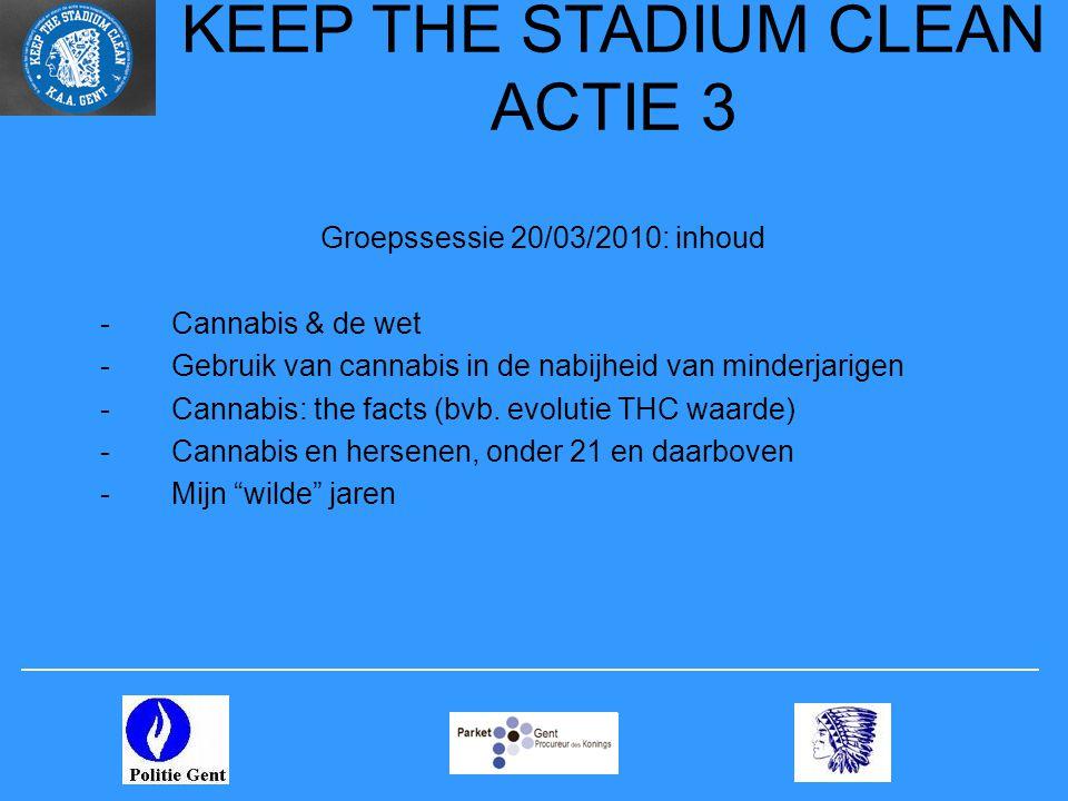 KEEP THE STADIUM CLEAN ACTIE 3 Groepssessie 20/03/2010: inhoud -Cannabis & de wet -Gebruik van cannabis in de nabijheid van minderjarigen -Cannabis: t