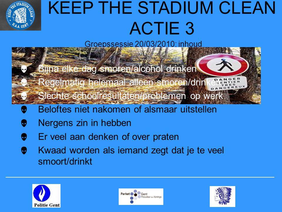 KEEP THE STADIUM CLEAN ACTIE 3 Groepssessie 20/03/2010: inhoud  Bijna elke dag smoren/alcohol drinken  Regelmatig helemaal alleen smoren/drinken  S