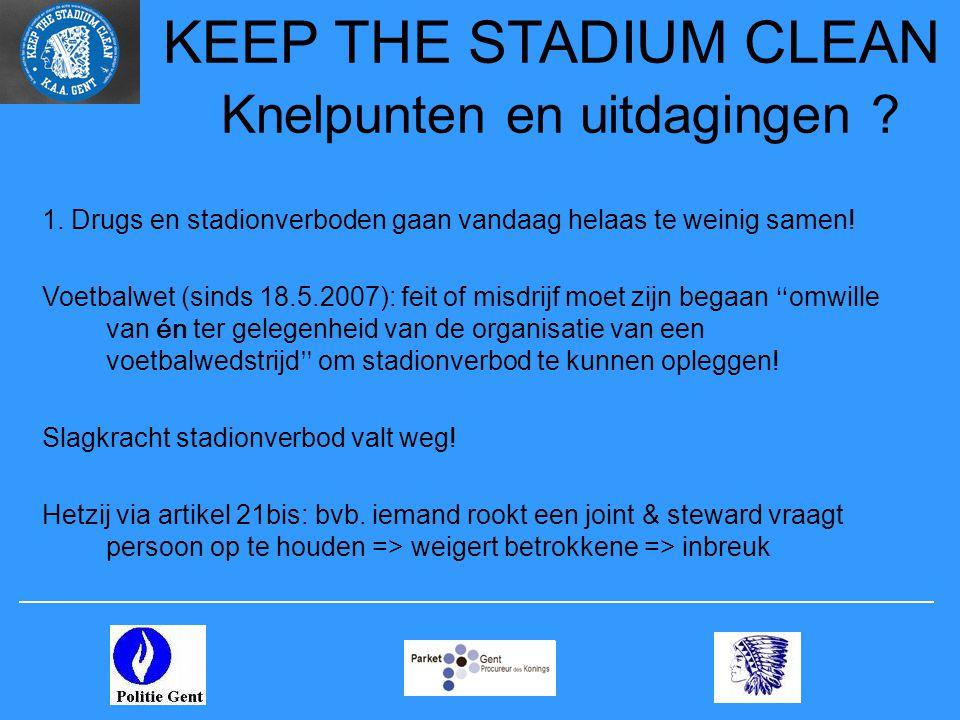 KEEP THE STADIUM CLEAN Knelpunten en uitdagingen ? 1. Drugs en stadionverboden gaan vandaag helaas te weinig samen! Voetbalwet (sinds 18.5.2007): feit