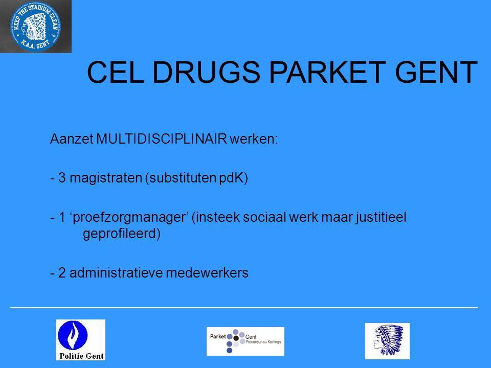 CEL DRUGS PARKET GENT Aanzet MULTIDISCIPLINAIR werken: - 3 magistraten (substituten pdK) - 1 'proefzorgmanager' (insteek sociaal werk maar justitieel