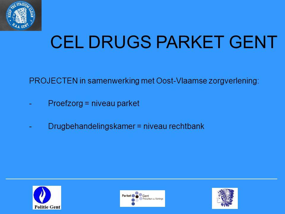 CEL DRUGS PARKET GENT PROJECTEN in samenwerking met Oost-Vlaamse zorgverlening: -Proefzorg = niveau parket -Drugbehandelingskamer = niveau rechtbank