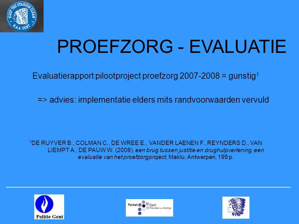 PROEFZORG - EVALUATIE Evaluatierapport pilootproject proefzorg 2007-2008 = gunstig 1 => advies: implementatie elders mits randvoorwaarden vervuld 1 DE