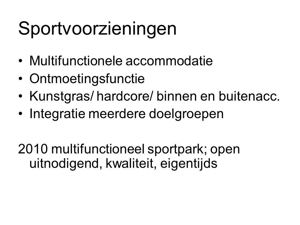 Sportvoorzieningen Multifunctionele accommodatie Ontmoetingsfunctie Kunstgras/ hardcore/ binnen en buitenacc.