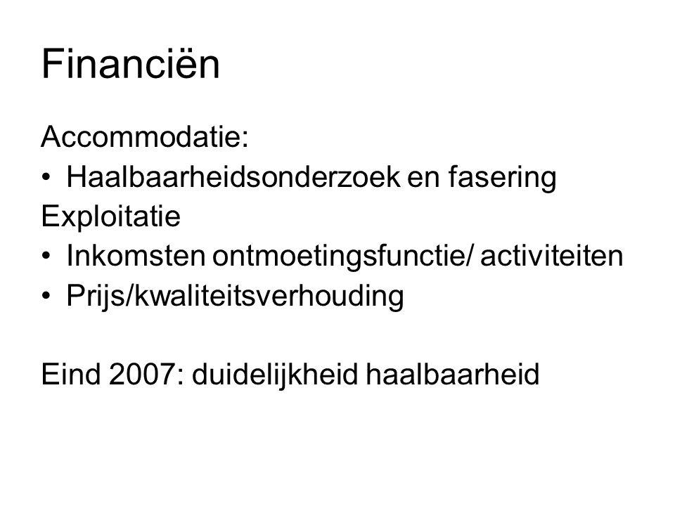 Financiën Accommodatie: Haalbaarheidsonderzoek en fasering Exploitatie Inkomsten ontmoetingsfunctie/ activiteiten Prijs/kwaliteitsverhouding Eind 2007: duidelijkheid haalbaarheid
