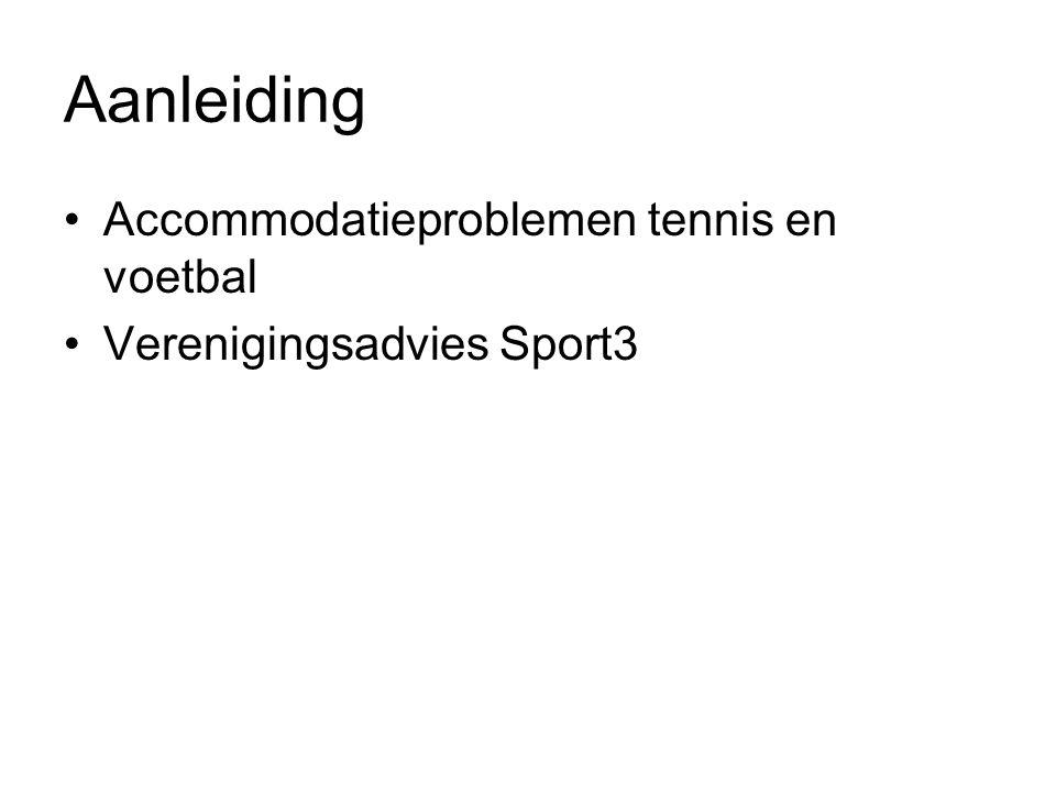 Aanleiding Accommodatieproblemen tennis en voetbal Verenigingsadvies Sport3