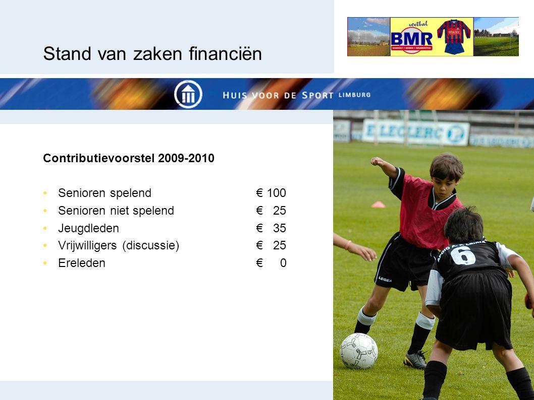 Stand van zaken financiën Contributievoorstel 2009-2010 Senioren spelend€ 100 Senioren niet spelend€ 25 Jeugdleden€ 35 Vrijwilligers (discussie)€ 25 E