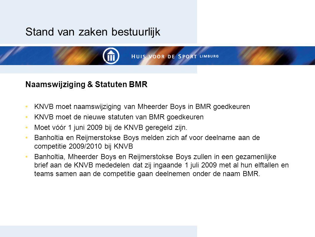 Stand van zaken bestuurlijk Naamswijziging & Statuten BMR KNVB moet naamswijziging van Mheerder Boys in BMR goedkeuren KNVB moet de nieuwe statuten va