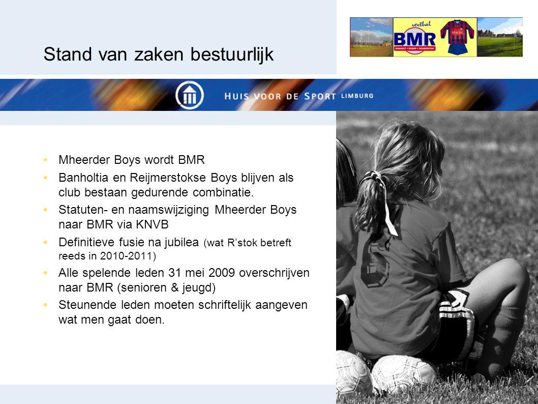 Stand van zaken bestuurlijk Mheerder Boys wordt BMR Banholtia en Reijmerstokse Boys blijven als club bestaan gedurende combinatie. Statuten- en naamsw