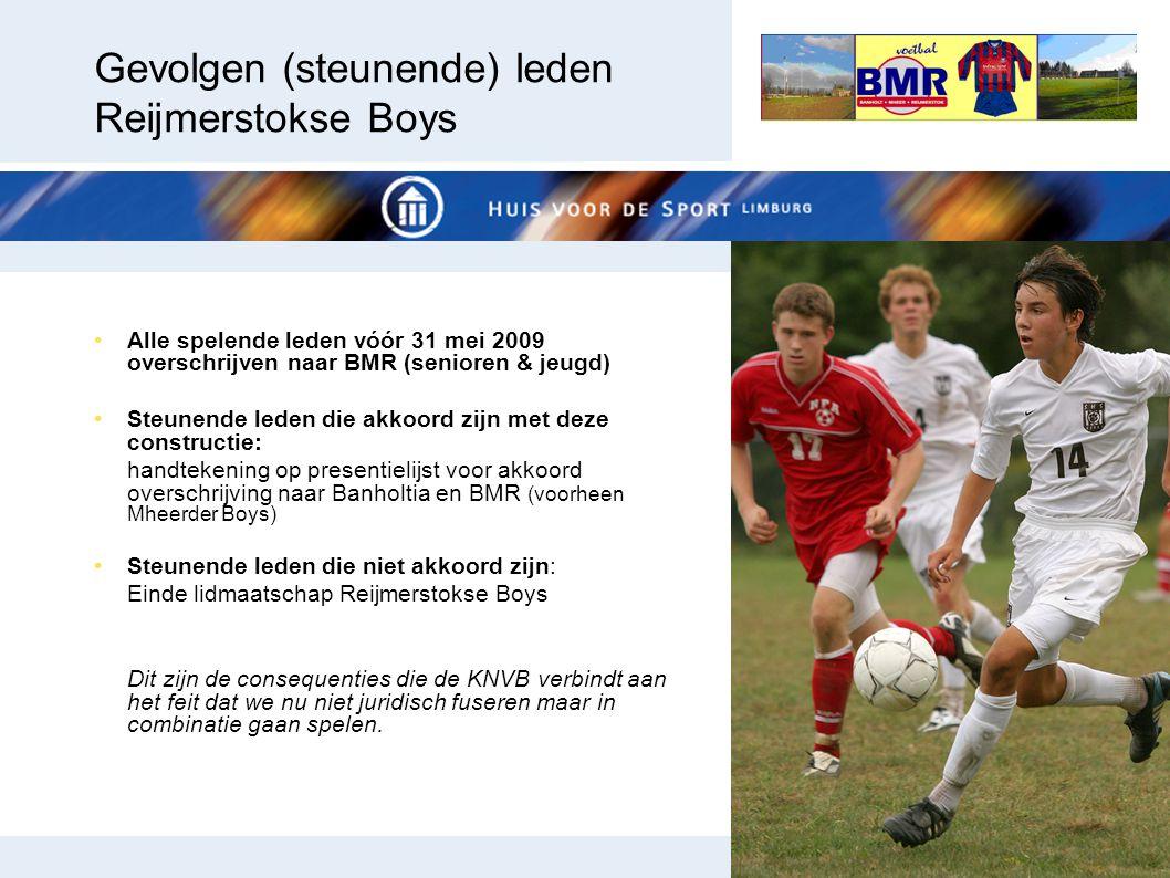Gevolgen (steunende) leden Reijmerstokse Boys Alle spelende leden vóór 31 mei 2009 overschrijven naar BMR (senioren & jeugd) Steunende leden die akkoo