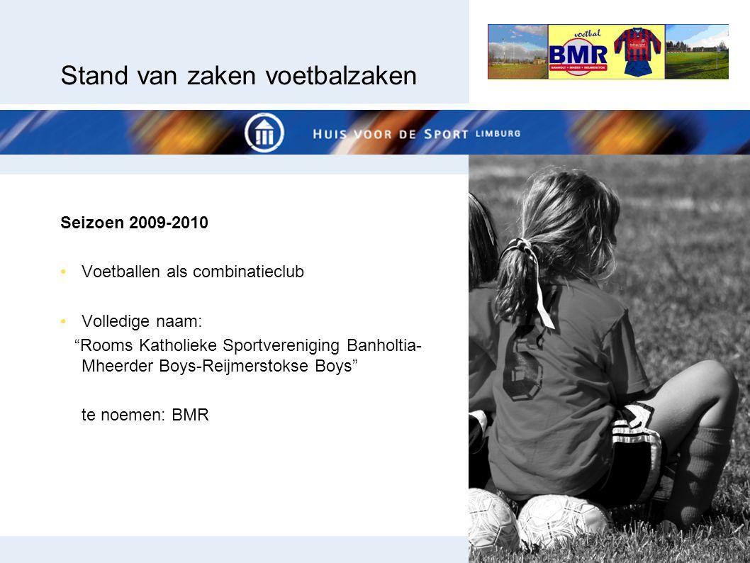 """Stand van zaken voetbalzaken Seizoen 2009-2010 Voetballen als combinatieclub Volledige naam: """"Rooms Katholieke Sportvereniging Banholtia- Mheerder Boy"""