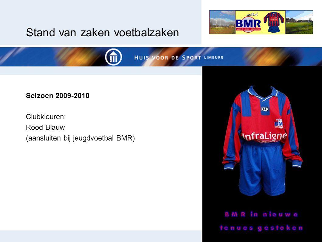 Stand van zaken voetbalzaken Seizoen 2009-2010 Clubkleuren: Rood-Blauw (aansluiten bij jeugdvoetbal BMR)