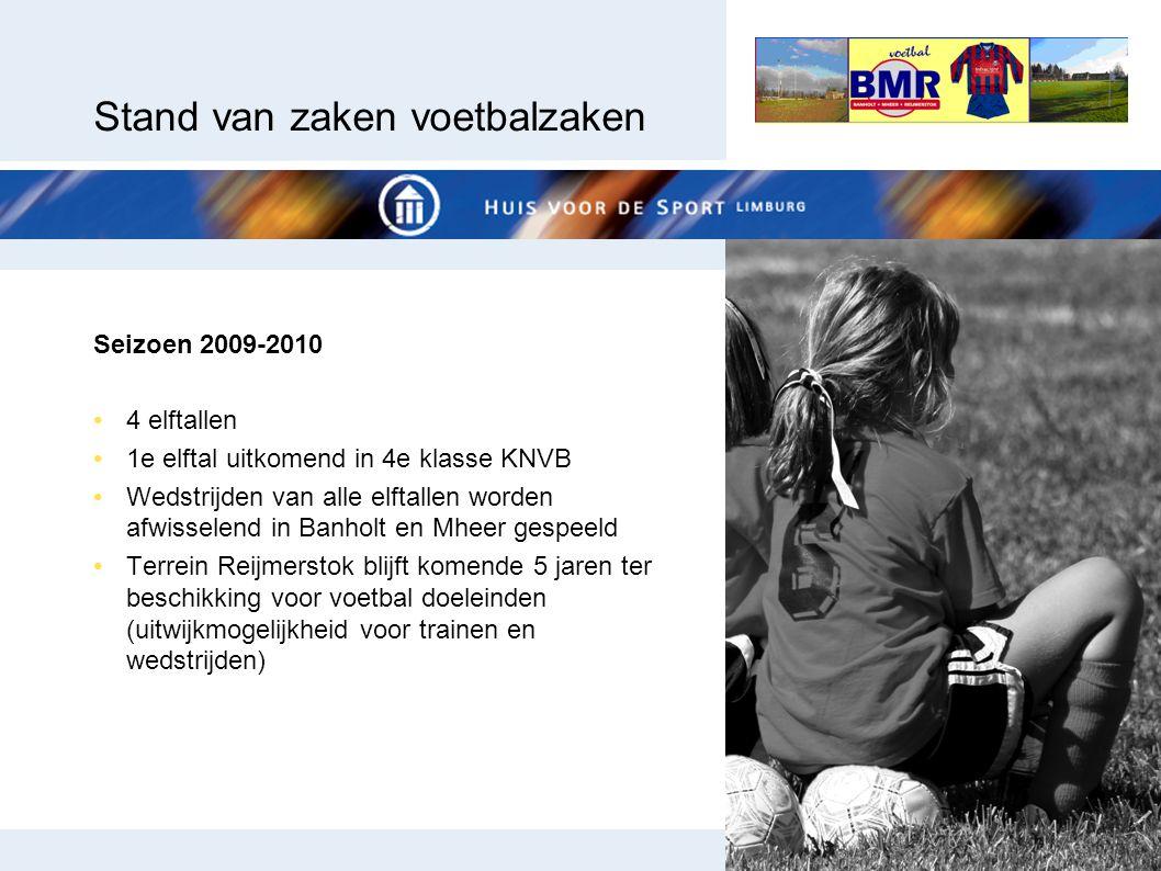 Stand van zaken voetbalzaken Seizoen 2009-2010 4 elftallen 1e elftal uitkomend in 4e klasse KNVB Wedstrijden van alle elftallen worden afwisselend in
