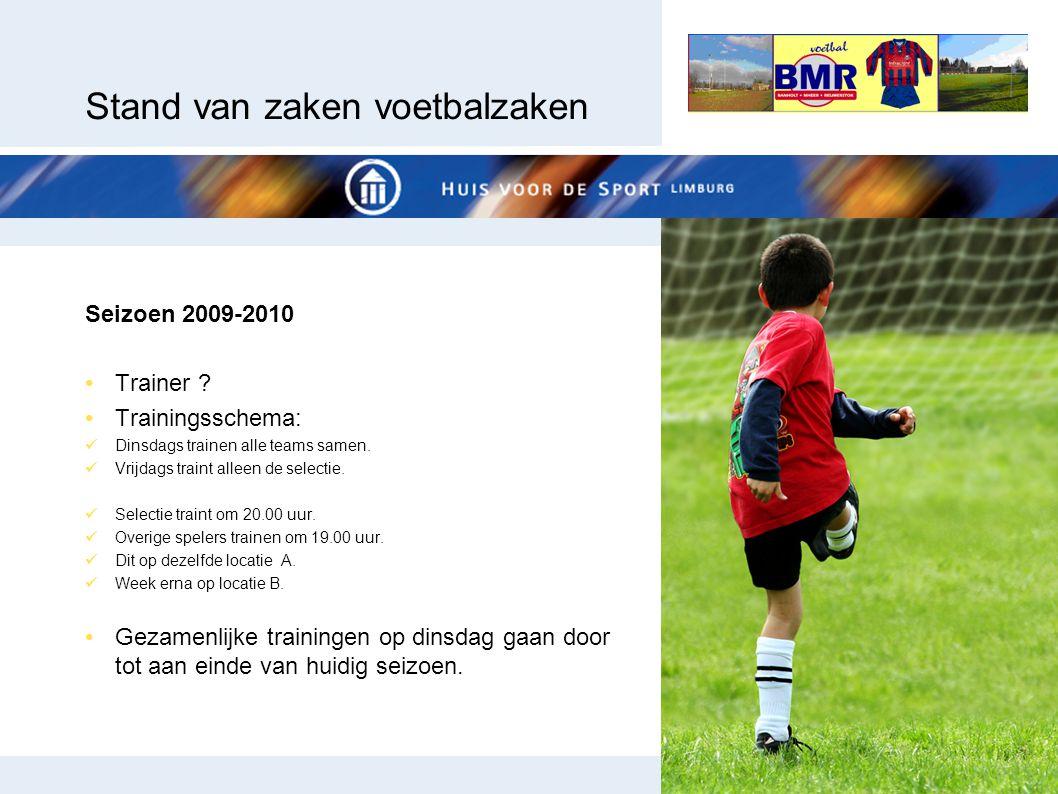 Stand van zaken voetbalzaken Seizoen 2009-2010 Trainer ? Trainingsschema: Dinsdags trainen alle teams samen. Vrijdags traint alleen de selectie. Selec