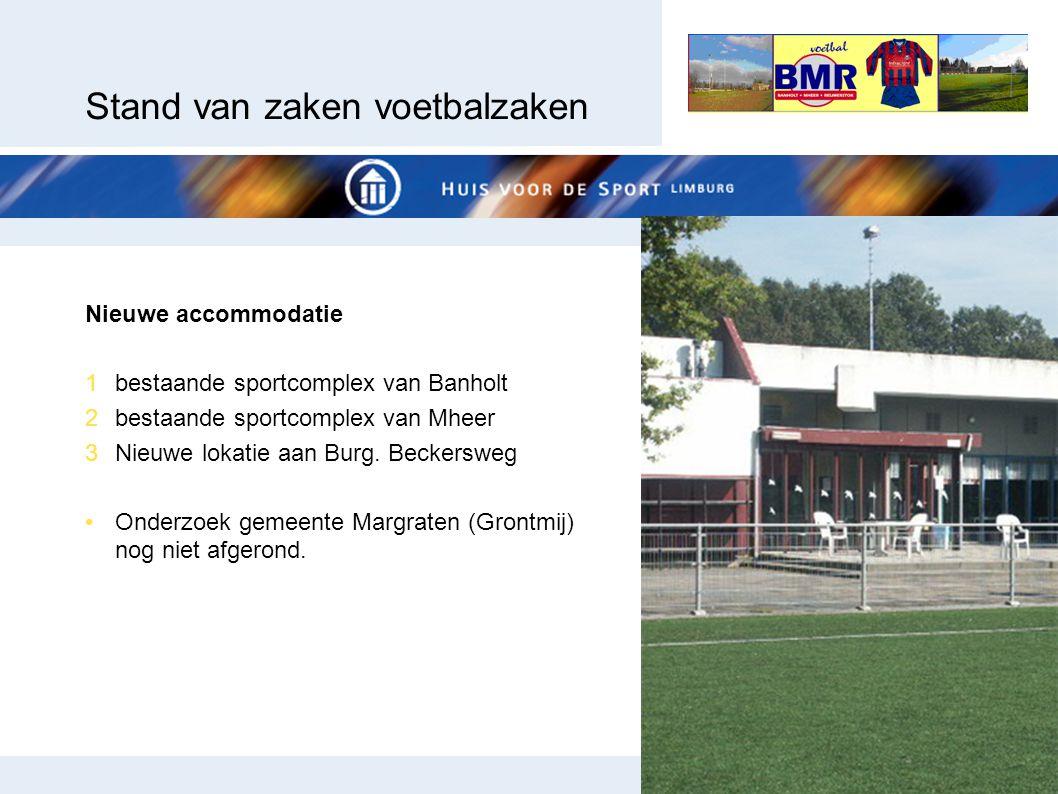 Stand van zaken voetbalzaken Nieuwe accommodatie 1bestaande sportcomplex van Banholt 2bestaande sportcomplex van Mheer 3Nieuwe lokatie aan Burg. Becke