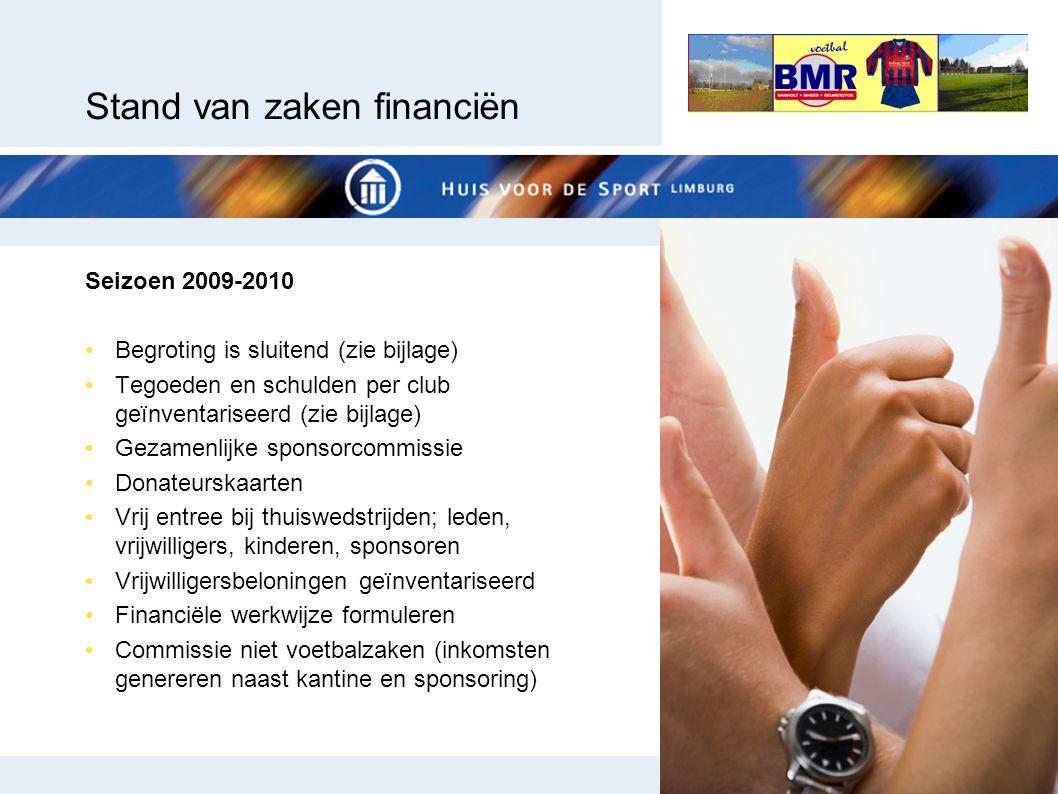 Stand van zaken financiën Seizoen 2009-2010 Begroting is sluitend (zie bijlage) Tegoeden en schulden per club geïnventariseerd (zie bijlage) Gezamenli