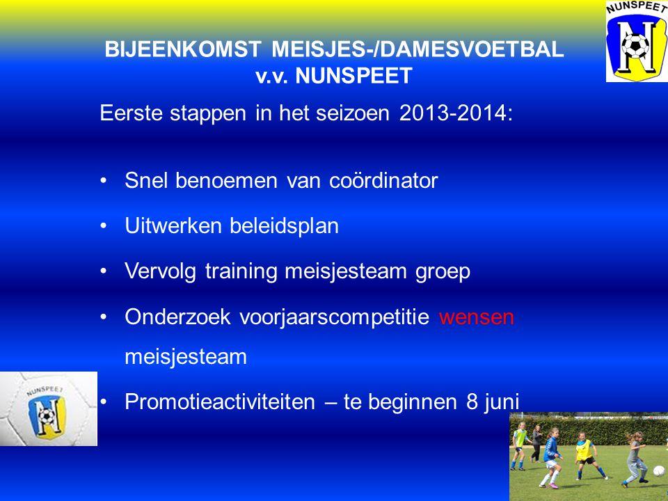 BIJEENKOMST MEISJES-/DAMESVOETBAL v.v. NUNSPEET Eerste stappen in het seizoen 2013-2014: Snel benoemen van coördinator Uitwerken beleidsplan Vervolg t