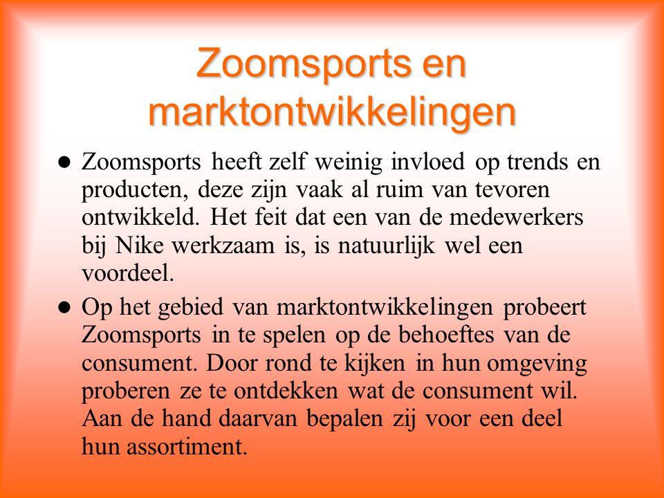 Zoomsports en marktontwikkelingen Zoomsports heeft zelf weinig invloed op trends en producten, deze zijn vaak al ruim van tevoren ontwikkeld.