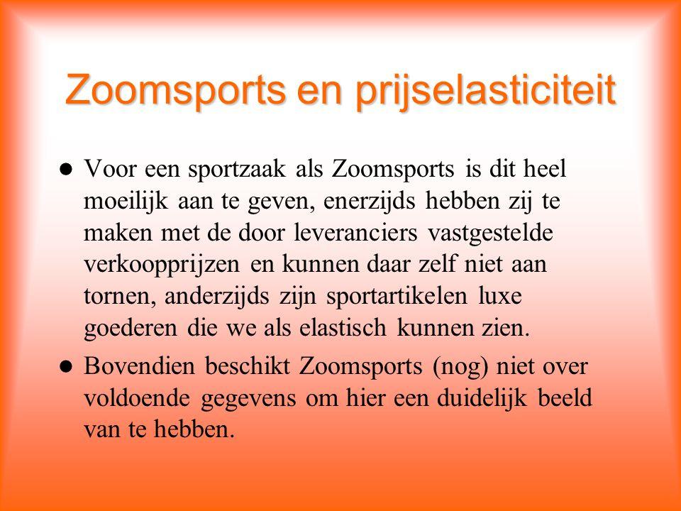 Zoomsports en prijselasticiteit Voor een sportzaak als Zoomsports is dit heel moeilijk aan te geven, enerzijds hebben zij te maken met de door leveranciers vastgestelde verkoopprijzen en kunnen daar zelf niet aan tornen, anderzijds zijn sportartikelen luxe goederen die we als elastisch kunnen zien.