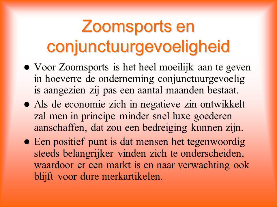 Zoomsports en conjunctuurgevoeligheid Voor Zoomsports is het heel moeilijk aan te geven in hoeverre de onderneming conjunctuurgevoelig is aangezien zij pas een aantal maanden bestaat.
