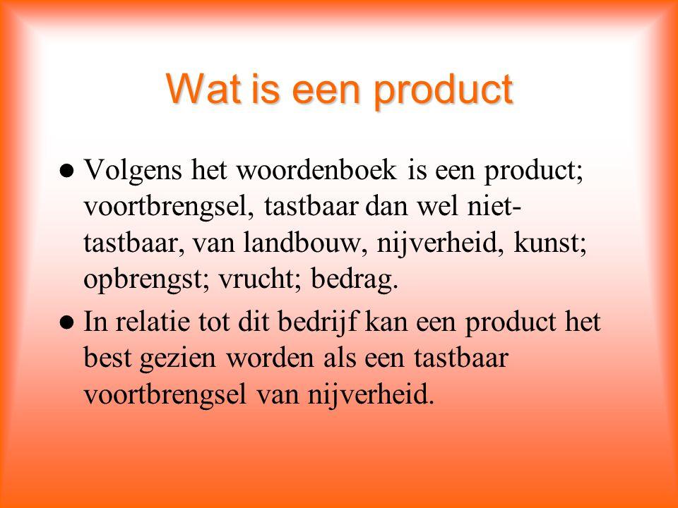 Wat is een product Volgens het woordenboek is een product; voortbrengsel, tastbaar dan wel niet- tastbaar, van landbouw, nijverheid, kunst; opbrengst; vrucht; bedrag.