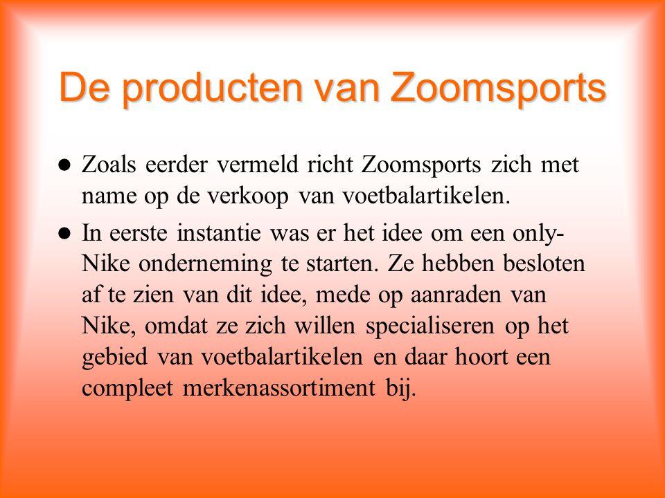 De producten van Zoomsports Zoals eerder vermeld richt Zoomsports zich met name op de verkoop van voetbalartikelen.