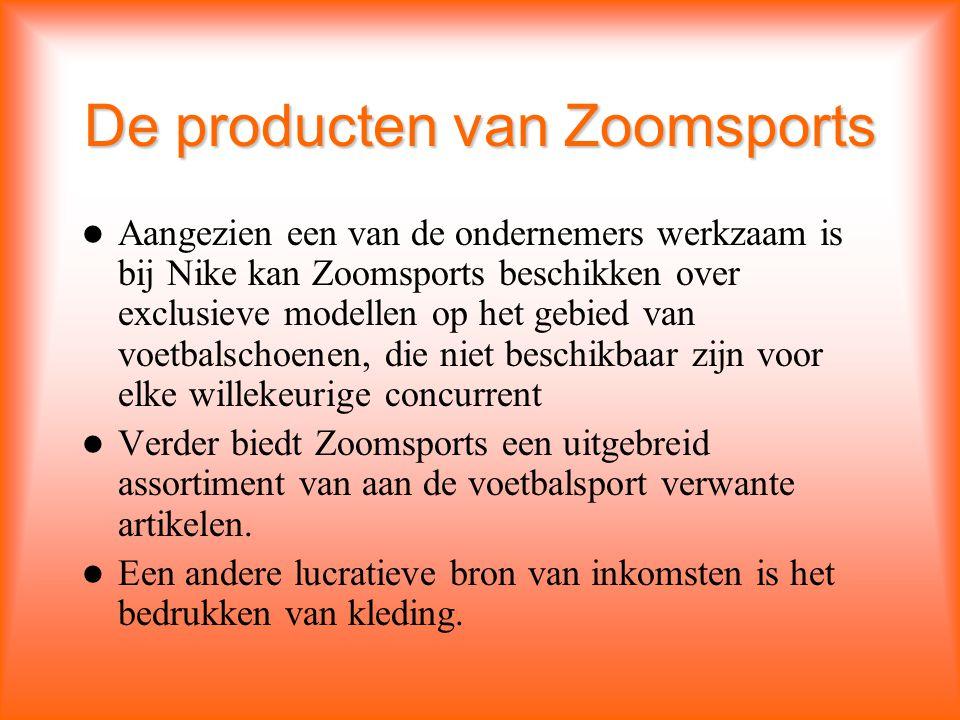 De producten van Zoomsports Aangezien een van de ondernemers werkzaam is bij Nike kan Zoomsports beschikken over exclusieve modellen op het gebied van voetbalschoenen, die niet beschikbaar zijn voor elke willekeurige concurrent Verder biedt Zoomsports een uitgebreid assortiment van aan de voetbalsport verwante artikelen.