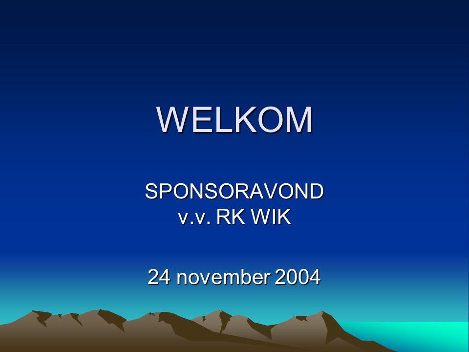 WELKOM SPONSORAVOND v.v. RK WIK 24 november 2004