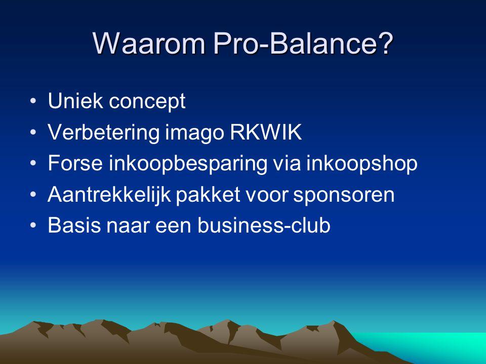 Waarom Pro-Balance? Uniek concept Verbetering imago RKWIK Forse inkoopbesparing via inkoopshop Aantrekkelijk pakket voor sponsoren Basis naar een busi