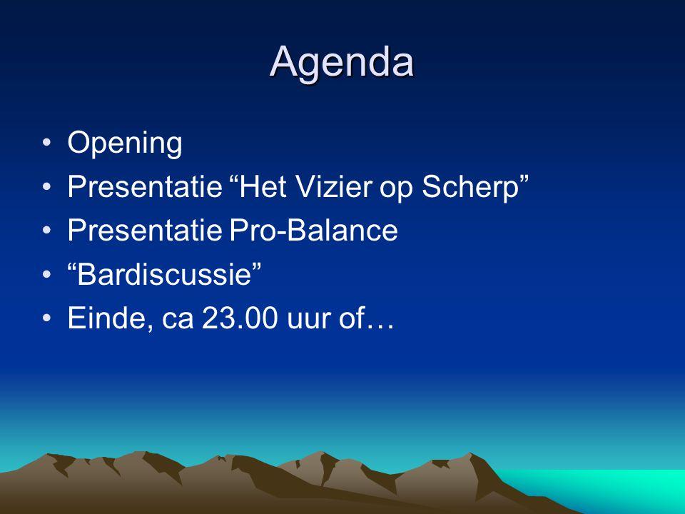 """Agenda Opening Presentatie """"Het Vizier op Scherp"""" Presentatie Pro-Balance """"Bardiscussie"""" Einde, ca 23.00 uur of…"""