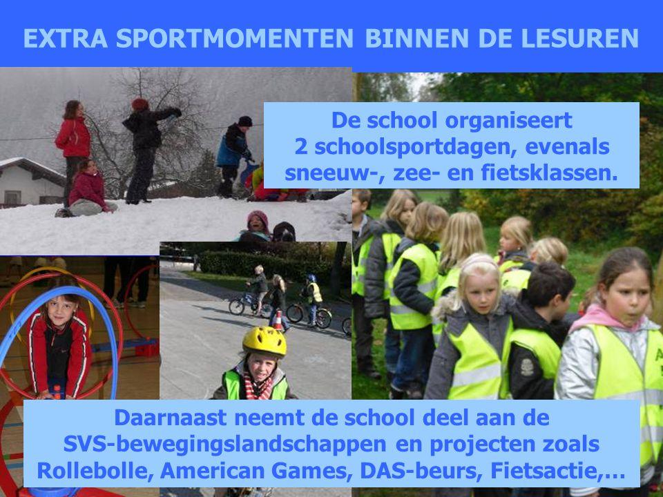 EXTRA SPORTMOMENTEN BINNEN DE LESUREN De school organiseert 2 schoolsportdagen, evenals sneeuw-, zee- en fietsklassen. Daarnaast neemt de school deel