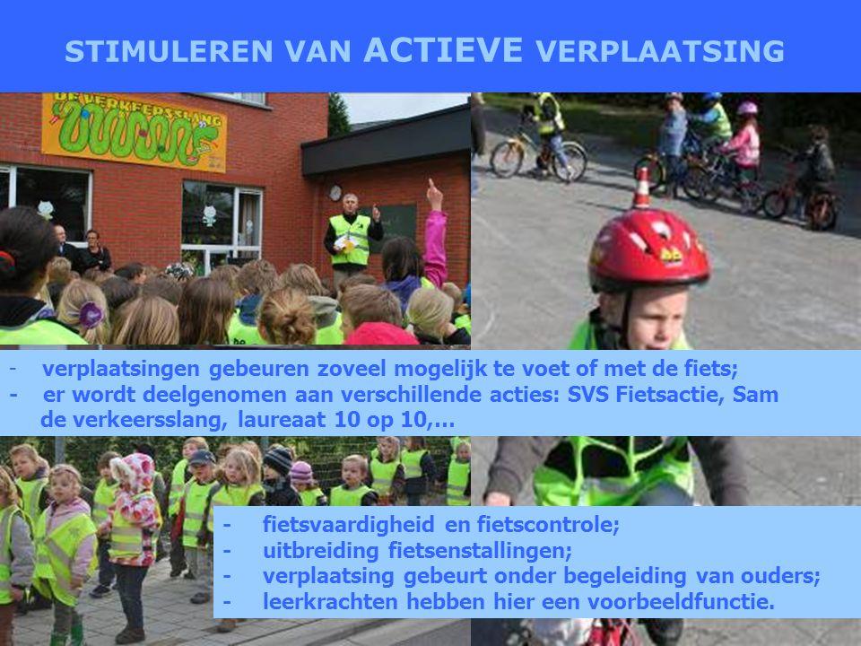 STIMULEREN VAN ACTIEVE VERPLAATSING - verplaatsingen gebeuren zoveel mogelijk te voet of met de fiets; - er wordt deelgenomen aan verschillende acties