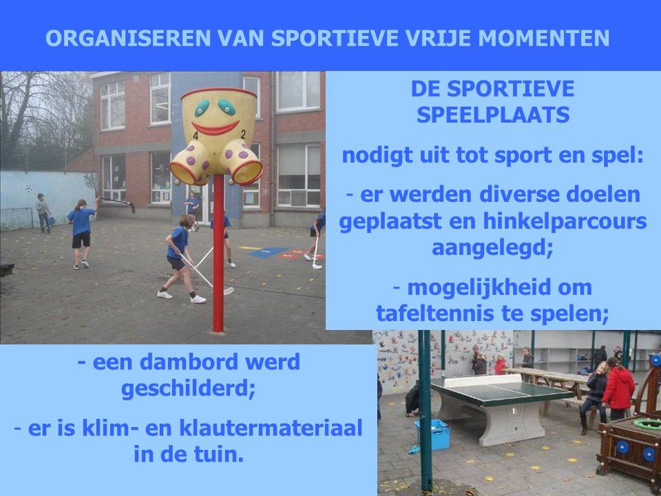 ORGANISEREN VAN SPORTIEVE VRIJE MOMENTEN DE SPORTIEVE SPEELPLAATS nodigt uit tot sport en spel: - er werden diverse doelen geplaatst en hinkelparcours