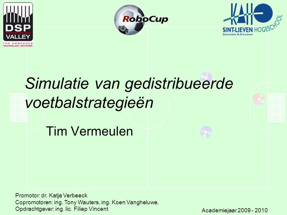 Simulatie van gedistribueerde voetbalstrategieën Tim Vermeulen Promotor: dr. Katja Verbeeck Copromotoren: ing. Tony Wauters, ing. Koen Vangheluwe, Opd