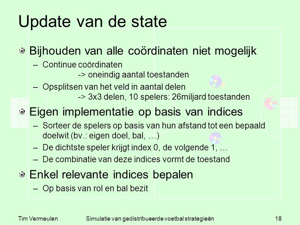 Tim VermeulenSimulatie van gedistribueerde voetbal strategieën18 Update van de state Bijhouden van alle coördinaten niet mogelijk –Continue coördinate