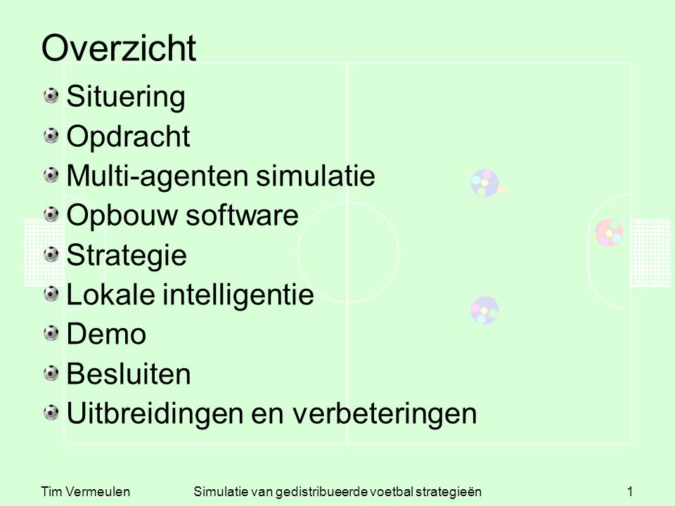 Tim VermeulenSimulatie van gedistribueerde voetbal strategieën1 Overzicht Situering Opdracht Multi-agenten simulatie Opbouw software Strategie Lokale